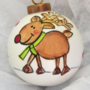 Bauble Christmas Handpainted Ceramic and Personalised Rudolph Ready to Go