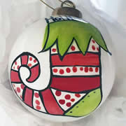 Bauble Christmas Handpainted Ceramic and Personalised Ho! Ho! Ho! Stocking