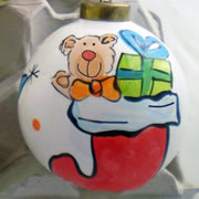 Bauble Christmas Handpainted Ceramic and Personalised Stocking