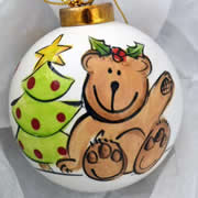 Bauble Christmas Handpainted Ceramic and Personalised Teddy Tree