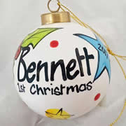 Bauble Christmas Handpainted Ceramic and Personalised First Christmas