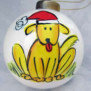 Bauble Christmas Handpainted Ceramic and Personalised Doggy