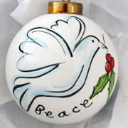 Bauble Christmas Handpainted Ceramic and Personalised Dove