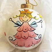 Bauble Christmas Handpainted Ceramic and Personalised Christmas Princess Fairy