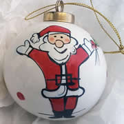 Bauble Christmas Handpainted Ceramic and Personalised Happy Santa
