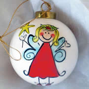 Bauble Christmas Handpainted Ceramic and Personalised Red Christmas Fairy