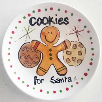 Handpainted Personalised Christmas Plate - Cookies for Santa
