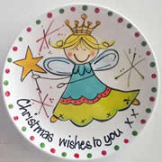 Handpainted Personalised Christmas Plate - Christmas Fairy Wishes