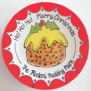 Handpainted Personalised Christmas Plate - Family Pudding