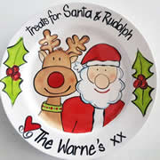 Handpainted Personalised Christmas Plate - Santa and Rudoph Treats