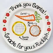 Handpainted Personalised Christmas Plate - Snacks for Santa and Rudolph