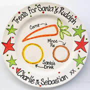 Handpainted Personalised Christmas Plate - Snacks for Santa and Rudoph Treats