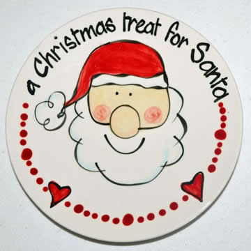 Handpainted Personalised Christmas Plate - A Treat for Santa