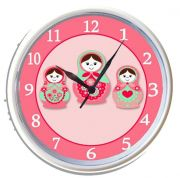 Plastic Wall Clock Personalised for Kids Beautiful Babushka Dolls