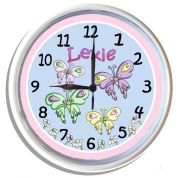 Plastic Wall Clock Personalised for Kids Butterfly Design