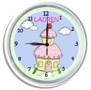 Plastic Wall Clock Personalised for Kids Cupcake House