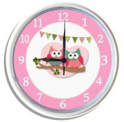 Plastic Wall Clock Personalised for Kids Cute Hoots Owls - Pink