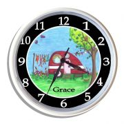Plastic Wall Clock Personalised for Kids Caravan Red