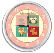 Plastic Wall Clock Personalised for Kids Woodland Animal Critters Pink