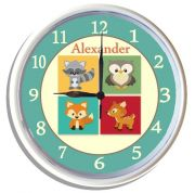 Plastic Wall Clock Personalised for Kids Woodland Animal Critters Blue