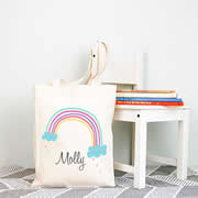 Personalised Library Bag - Rainbow Girls