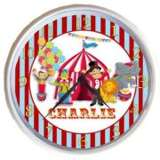 Plastic Wall Clock Personalised for Kids Circus Design