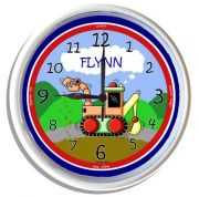 Plastic Wall Clock Personalised for Kids Digger