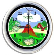 Plastic Wall Clock Personalised for Kids Dinosaur