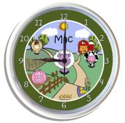 Plastic Wall Clock Personalised for Kids Farm design