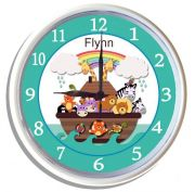 Plastic Wall Clock Personalised for Kids Noahs Ark