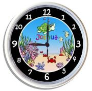Plastic Wall Clock Personalised for Kids Under the Sea