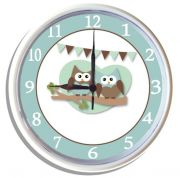 Plastic Wall Clock Personalised for Kids Cute Hoots Owls - Blue