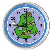 Plastic Wall Clock Personalised for Kids Pirate Map