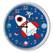 Plastic Wall Clock Personalised for Kids Rocket Ship