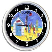 Plastic Wall Clock Personalised for Kids Surf Hut Surfing Design