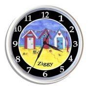 Plastic Wall Clock Personalised for Kids Beach Hut Surfing Design