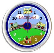 Plastic Wall Clock Personalised for Kids Trains, Planes, Trucks