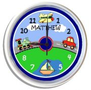 Plastic Wall Clock Personalised for Kids Transport