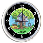 Plastic Wall Clock Personalised for Kids Treehouse Boys