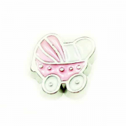 Children Charm for Floating Memory Locket - Pink Pram with Dots
