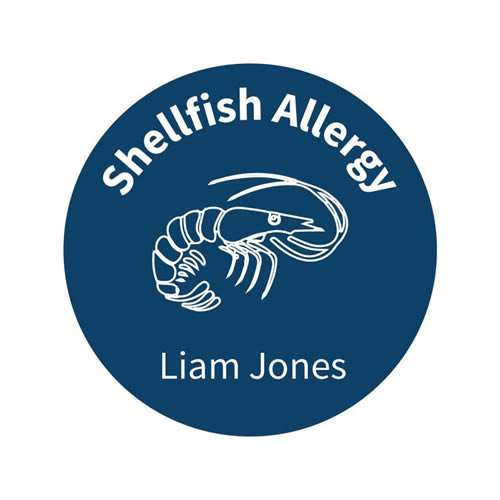 .Personalised School Labels Shellfish - Carnival - Labels Allergy 30 labels free shipping