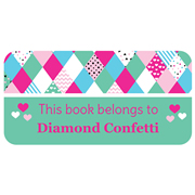 Personalised School Labels Diamond Confetti - Book Labels Vinyl 40 labels free shipping