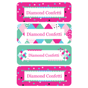 Personalised School Labels Diamond Confetti - Labels Vinyl Essentials 46 labels free shipping
