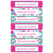 Personalised School Labels Diamond Confetti - Labels Vinyl Jumbo 52 labels free shipping
