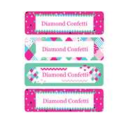 Personalised School Labels Diamond Confetti - Labels IRON-ONS 48 labels free shipping