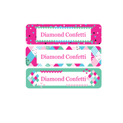 Personalised School Labels Diamond Confetti - Labels Vinyl Mighty 48 labels free shipping