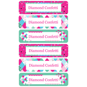 Personalised School Labels Diamond Confetti - Labels Vinyl Mighty 96 labels free shipping