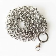 Stainless Steel Silver Tone - Belcher 6mm Chain Necklace for memory lockets - 24 inches long