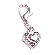 Silver Heart Dangle for Floating Memory Locket