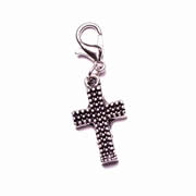 Silver Patterned Cross Dangle for Floating Memory Locket